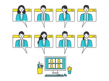 テレビ会議画面のウィンドウの中のビジネスマン達