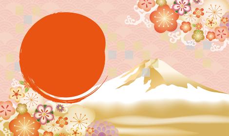 富士山のあるおめでたい年賀状背景素材
