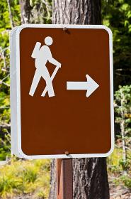 Sign indicating hiking trail, Oregon, USA