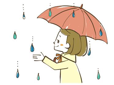 雨の日に空を見上げる女性