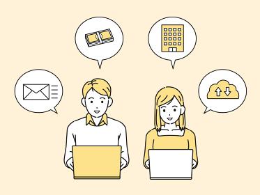 フリーランス 副業 ノートパソコンを使う若い男女 在宅勤務 仕事 イラスト素材