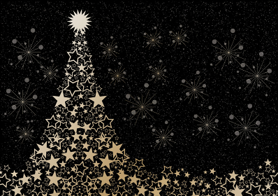 クリスマス クリスマスツリー キラキラ クリスマスイヴ 水彩 星 星型 カード クリスマスカード