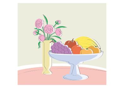 果物盛り合わせと花瓶