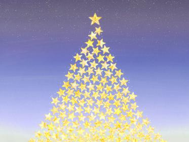 キラキラ星で作ったクリスマスツリー ロマンティックな夜景の背景