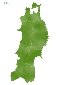水彩風の日本地図 東北地方