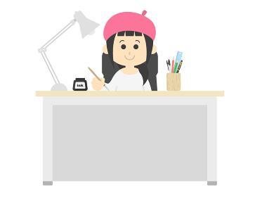 ベレー帽をかぶった女性の漫画家のイラスト
