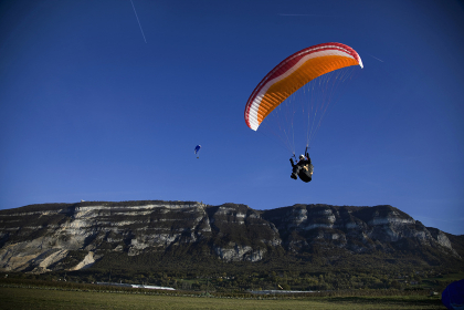 Mature male paragliding, Mount Saleve, Geneva, Switzerland