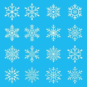 おしゃれな雪の結晶のデザインセット クリスマス素材