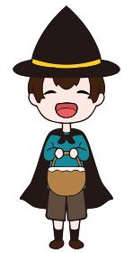 ハロウィンに仮装をする笑顔の男の子