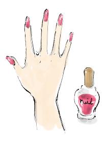 手描きイラスト素材 お洒落 手, マニキュア, 爪, ネイル, 指, ピンク