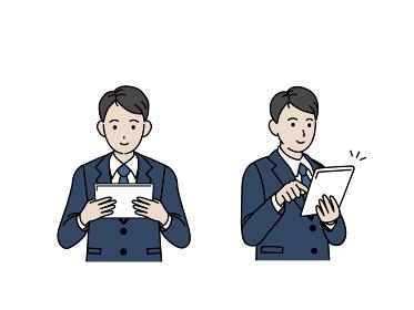 タブレットを使うスーツ姿の男性 会社員 ビジネスマン 上半身 イラスト素材