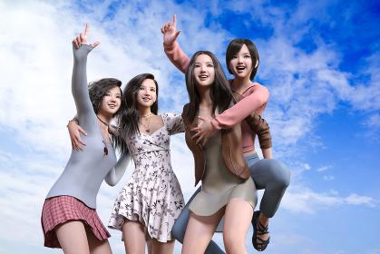 真っ青な空を背景に4人の女の子がおんぶしたり肩を組んで無邪気に元気いっぱいな笑顔で未来を指差す