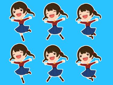 白フチつきのジャンプしている女の子の表情、