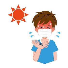 熱中症、太陽、マスクをしている、男の子