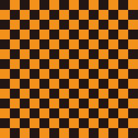 市松模様 黒×オレンジ M