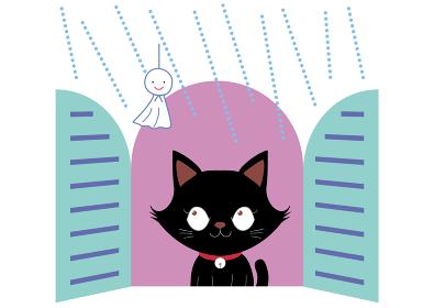 窓辺の黒猫とてるてる坊主