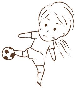 サッカーをする女の子 ボレーシュート