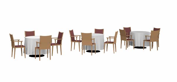 3セゥトのテーブルと椅子の3dレンダリング