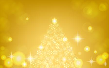 キラキラ輝く雪の結晶のクリスマスツリー