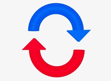 縦向きの青と赤のリサイクルアイコン