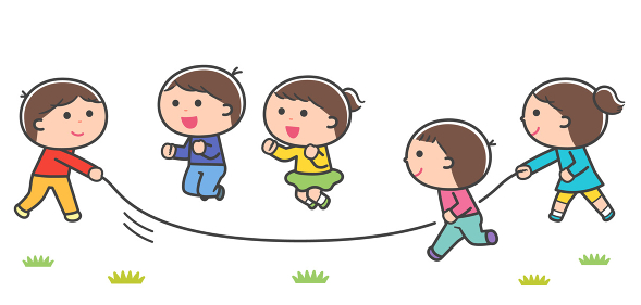 長なわとびをする子どもたち / 線あり