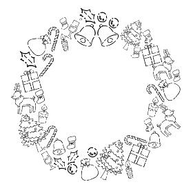 ペン画手描きのクリスマスリース