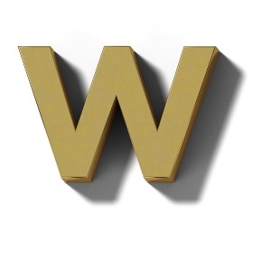 リアルな木製の文字ブロックのW