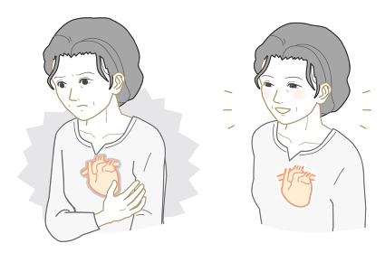 不健康な心臓、健康な心臓のおばあさん