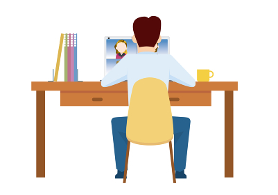 リモートワーク在宅ワークのイメージイラスト デスクPCパソコンと男性サラリーマン人物イラスト