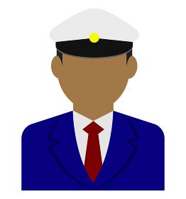 上半身シルエット人物イラスト (アジア人・アラブ人・黒人) / タクシードライバー・バス運転手