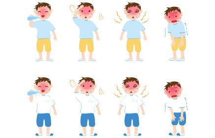 熱中症と男の子のイラストセット