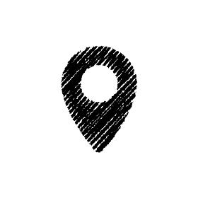 チョークで描いたような図形/アイコン(マップピン)