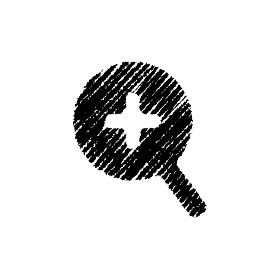 チョークで描いたような図形/アイコン(虫眼鏡・ズーム・拡大)