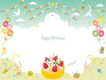 風船やケーキやフラッグの緑のお誕生日フレーム