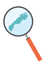 虫眼鏡ルーペ拡大鏡と島根県の詳細地図中国地方 都道府県別地図のイラスト ベクターデータ