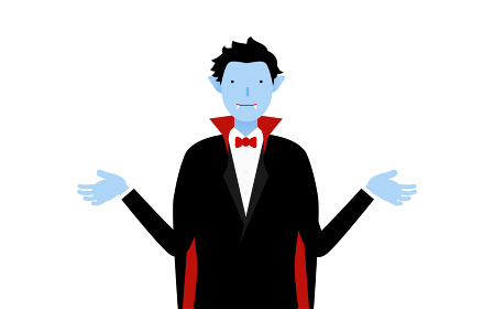 ハロウィンの仮装、バンパイア姿の男性が両腕を広げるポーズ