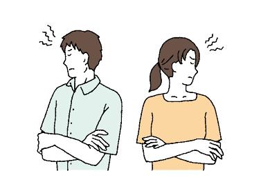 シンプルタッチ 喧嘩する夫婦のイラストレーション