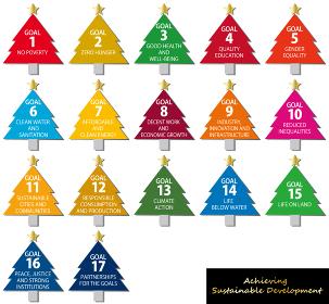 SDGsイメージのクリスマスツリーのアイコンセット(英語)