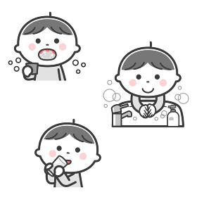 感染症予防/うがい、手洗い、水分補給をする男の子/2色