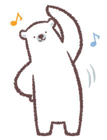 ラジオ体操をするシロクマ