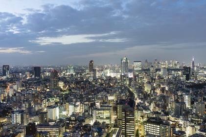 東京パノラマ 高層ビルから見る夕暮れの町並み