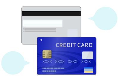 青いクレジットカードのイラスト(両面)