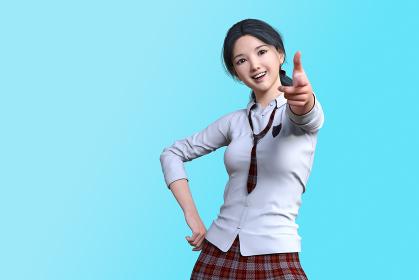 白いカッターシャツで赤いチェックのネクタイとスカートの女子高生が腰に手を当てピストルを撃つポーズ