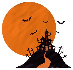 ハロウィン コウモリ 十字架 満月 オレンジ イラスト
