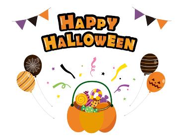 ハロウィン お菓子のバケツと飾り素材