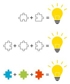 パズルと電球イラスト ソリューションイメージ