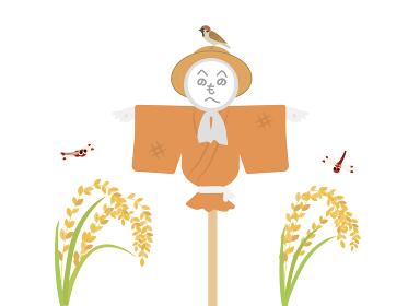 稲穂とかかしのイラスト