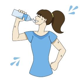 水分補給 ペットボトル 汗だく 女性