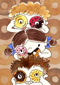 ドーナッツのメガネで遊ぶ子供たちの水彩イラスト