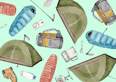 登山 アウトドア キャンプ 道具 アイテム 背景 模様 テキスタイル 水彩 イラスト